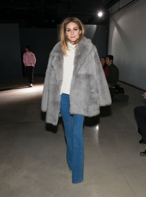 olivia palermo-flare jeans-turtleneck sweater-grey fur coat-winter work weekend outfit-night out going out-tibi-nyfw