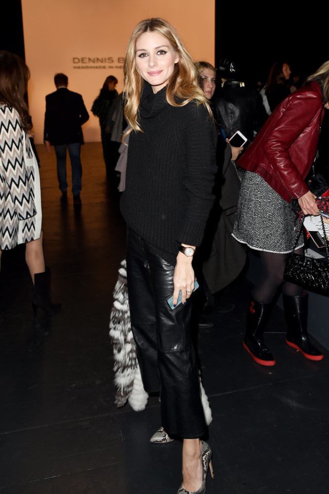 olivia palermo-leather pants-snakeskin heels-turtleneck sweater-black and whtie fur jacket-work outfit-nyfw street style-getty
