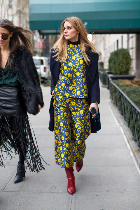 olivia palermo-winter to spring dressing-floral pants set-culottes-navy coat-mockneck top-red boots-yellow-winter outfits-nyfw street style 2016-hbz