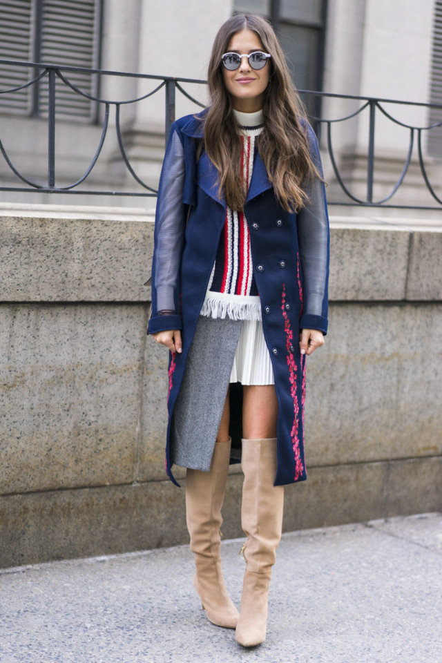 over the knee boots-rainbow stripes-statement coat-sheer sleeves-thigh high boots-navy-red and navy-nyfw street style-nyfw street style, nyfw fall/winter 2016, new york fashion week, winter to spring dressing, winter outfits, what to wear when it's freezing, layering, layers,