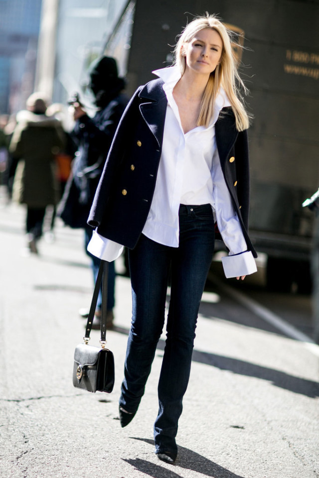 oversized-cuffs-cuffs-pea coat-flares-flare jeans-work outfit-weekend-office to out-kate davidsn-nyfw street style-ps