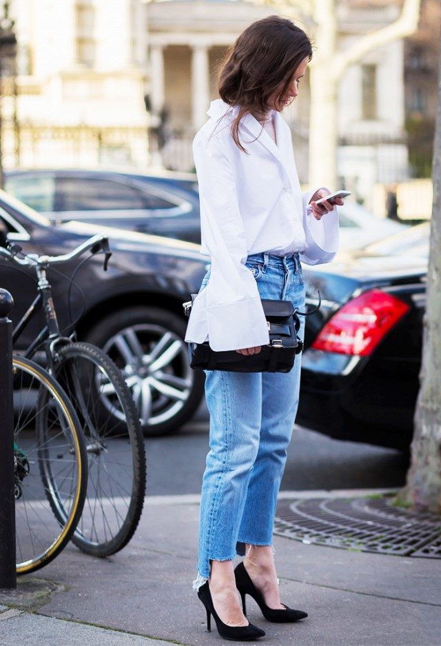 oversized cuffs-frayed denim-simiple black pumps-going out night out office to out-work-www