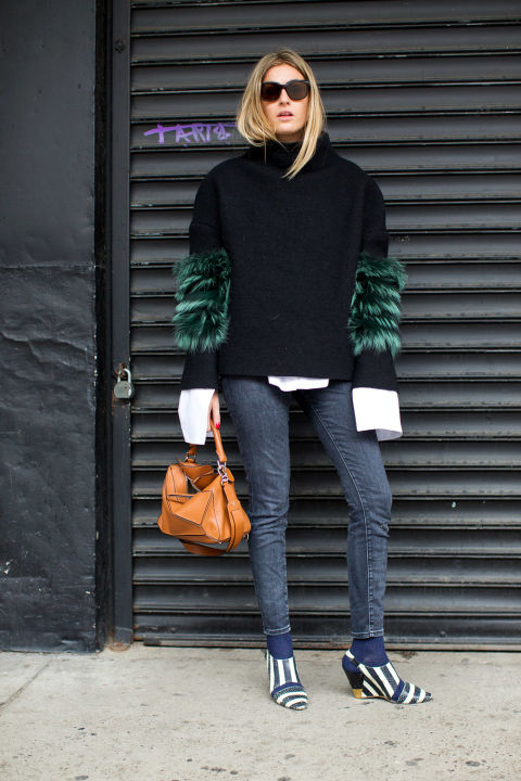 oversized cuffs-fur sweater-no jacket-socks tights with jeans-open back shoes-skinny jeans-winter outfits-nyfw street style 2016-hbz