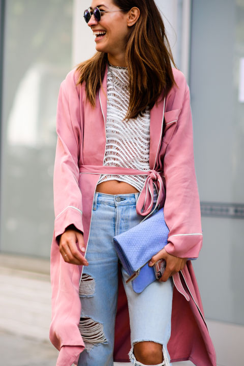 pajamas-irl-crochet-robe-blush-pink-distressed-high-waisted-denim-nyfw_ss17-elle