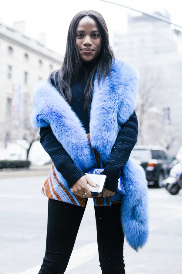 colored fur, nyfw street style