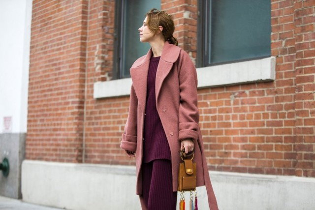 pink and red-sweater sets-oversized coat-tunic sweater-burgundy-rose pink-nyfw street style-nyfw street style, nyfw fall/winter 2016, new york fashion week, winter to spring dressing, winter outfits, what to wear when it's freezing, layering, layers,