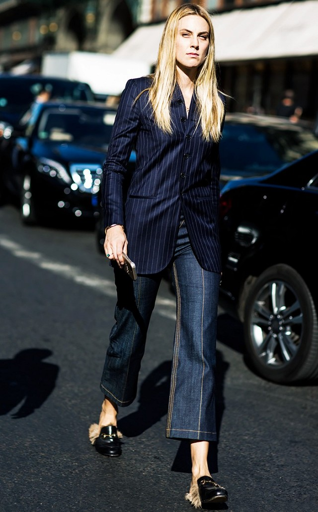 pinstripe blazer-gucci fur loafers-cropped flare jeans-fall work outfit-spring work outfit-going out-