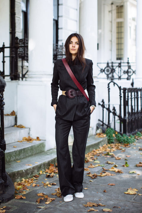 pinstripes-pantssuit-pant suit-belted jacket-pantsuit and sneakers-white sneakers-work outfit-