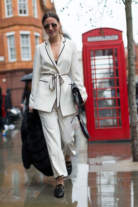 pjs during day-gucci loafers-pajamas-piping-black and white-pants suit-pj pants suit-belted-fw street style-hbz