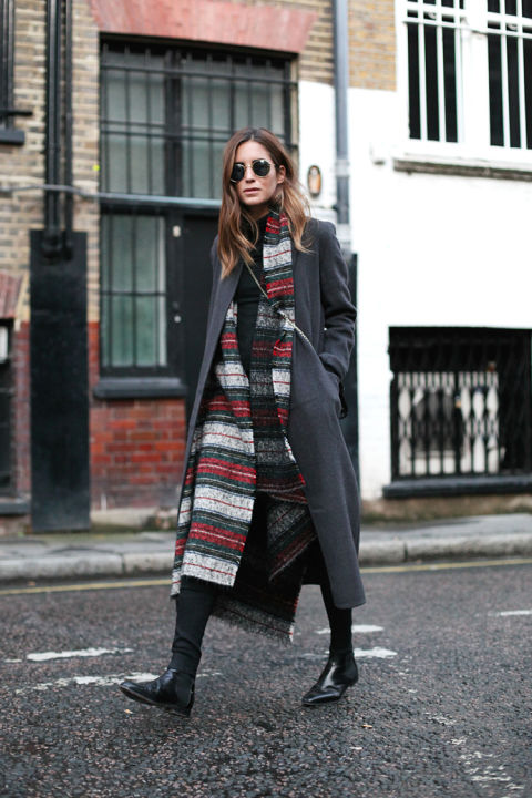 plaid scarf-navy coat-chelsea boots-blakc skinnies-black turtleneck-all black-blanket scarf-long scarf-winter weekend outfit-