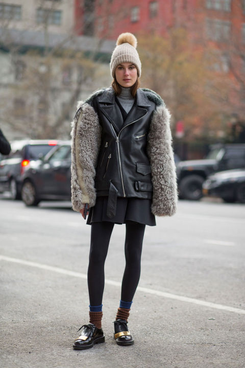 pom pom beanie-mixed materials-mini skirt-tights-socks and loafers-creepers-fur trim moto jacket-winter outfits-what to wear when its freezing-nyfw 2016 street style-hbz