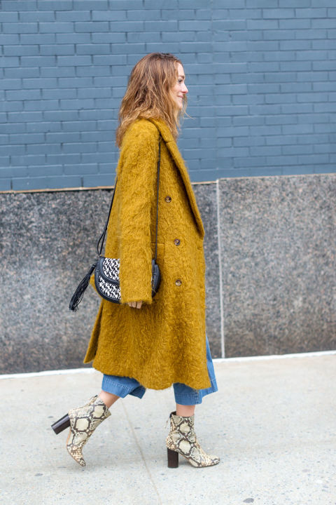 printed booties-culottes and boots-python snakeskin booties-mustard orange coat-textured coat-saddle bags-nyfw street style-hbz