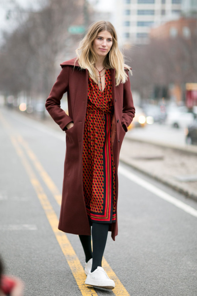 printed dress-midi dress-work outfit-tights-white sneakers-sneakers and dresses-burgundy coat-nyfw street style-ps