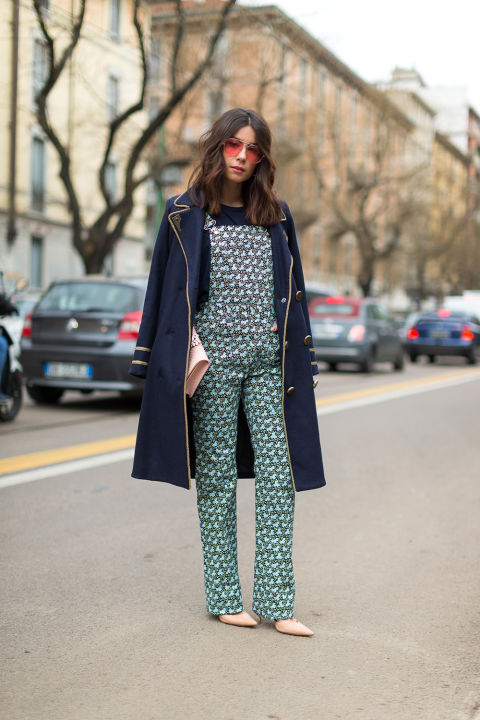 printed overalls-military jacket-milan fashion week street style-hbz