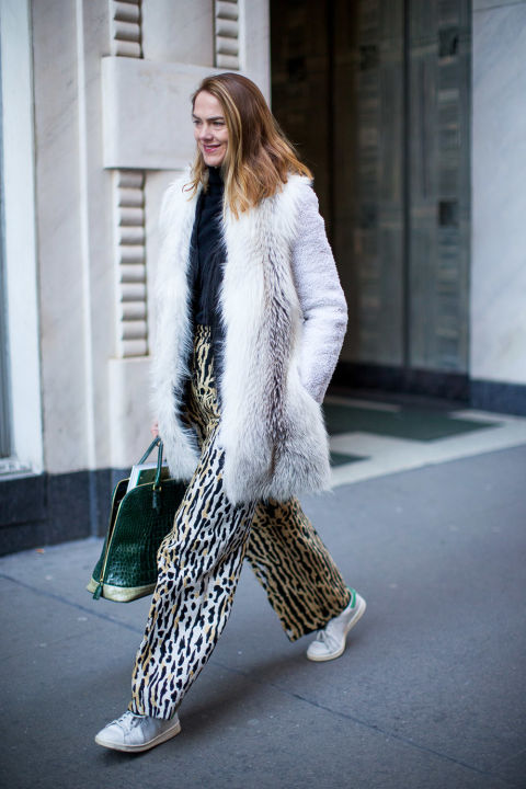 printed pants-fur coat-adidas sneakers-white ssneakers-animal prints-jj martin-winter outfits-what to wear when its freezing-nyfw 2016 street style-hbz