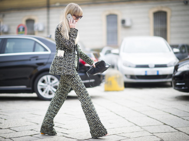 printed pantssuit-floral pants suit-spring trends-milan fashion week street style-cosmo-getty