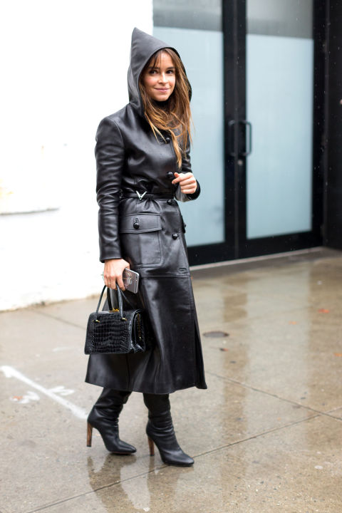 rain outfit-nyfw street style-hoodie-leather coat-hbz
