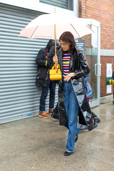 rainbow stripes-rain coat-wide leg jeans-what tow ear in the rain-nyfw street style-nbz