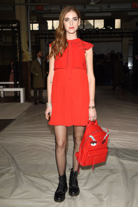 red dress-fishnets-backpack-lace up combat boots-ruffles going out night out-pleats-party-chaira ferragni-blonde salad-mfw street style-hbz