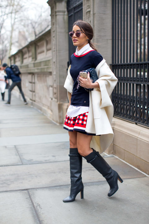 red navy and white-checkered mini skirt-winter to spring dressing-knee boots-oxford shirt-sweter over oxford shirt-white coat-winter outfits-nyfw street style 2016-hbz