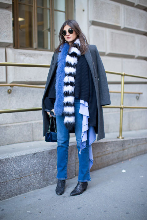 ruffles-high waisted mo mjeans-boots-fur scarf-colored fur-layers layering-grey coat-jacket on shoulders-winter outfits-what to wear when its freezing-nyfw 2016 street style-hbz