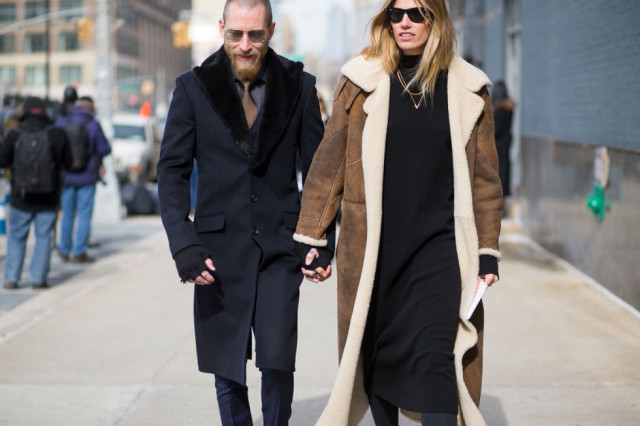 shearling coat-navy sweater dress-winter outfits-what to wear when its freezing-nyfw 2016 street style-hbz