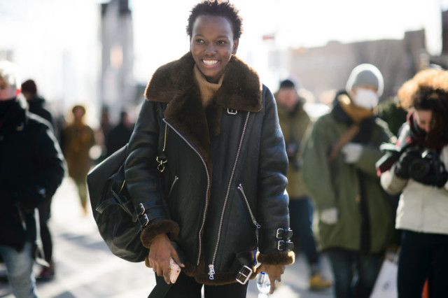 shearling coat-turtleneck-nyfw street style-elle