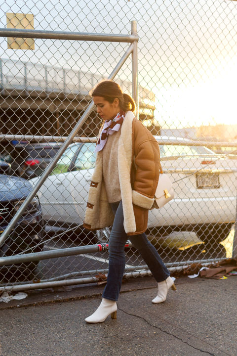 shearling oat-white booties-sweater-scarf around neck-winter weekend brunch-2016 street style hbz