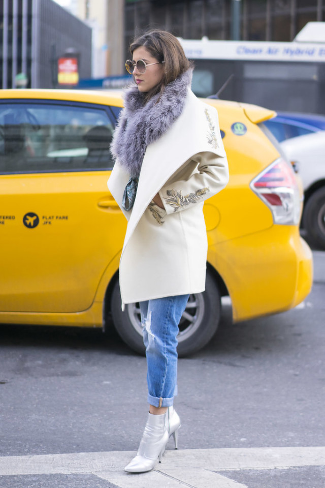 silver metallic booties-rolled jeans-coat-nyfw street style-nyfw street style, nyfw fall/winter 2016, new york fashion week, winter to spring dressing, winter outfits, what to wear when it's freezing, layering, layers,