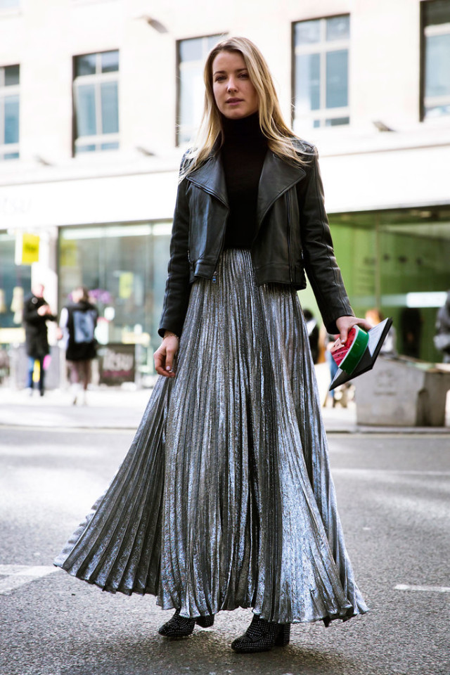silver pleated maxi skirt-black turtleneck-black moto jacket-office to out-maxi skirt in winter-lfw street style-psuk