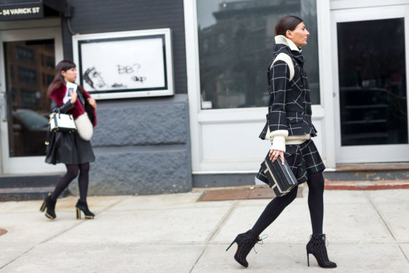 skirt suit-windowpane prints-lace up booties-tights-matching-prints-nyfw street style-work outfit-hbz