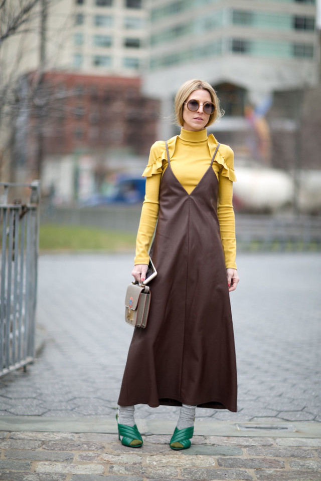 socks-slip dress-turtleneck-dress over turlteneck-ruffles-yellow-ules-mules-green mules-nyfw street style-ps