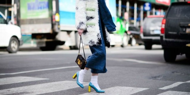 socks with shoes-cropped pants-socks-block heels color block shoes-colored fur-nyfw street style, nyfw fall/winter 2016, new york fashion week, winter to spring dressing, winter outfits, what to wear when it's freezing, layering, layers,
