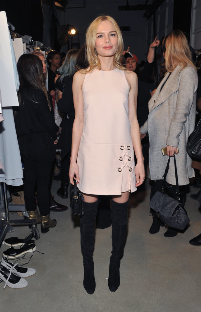 spwinter to spring-blush -pink and black-over the knee boots-thigh high boots-lace up laces-getty-nyfw street style-showers-wparty office ot out-