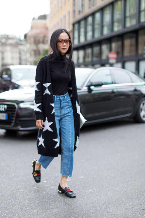 star print cardigan-fraye denim-gucci loafers-turtleneck-milan fashion week-hbz