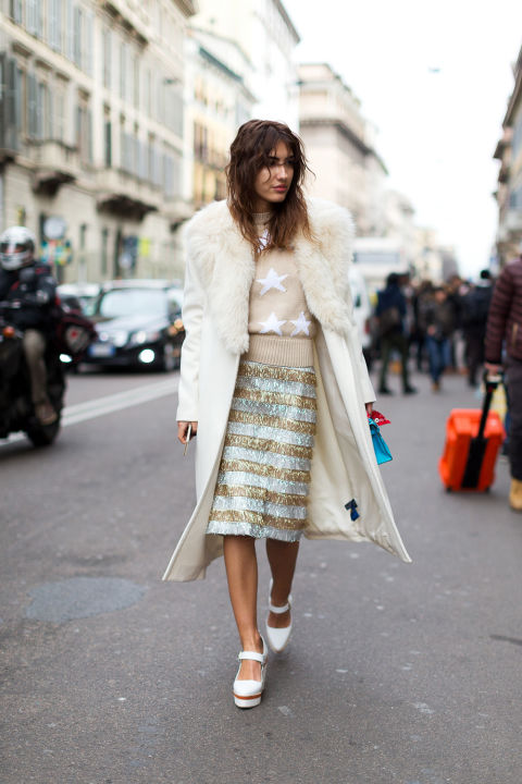 star print-daytime sequins-white fur coat-milan fashion week-hbz