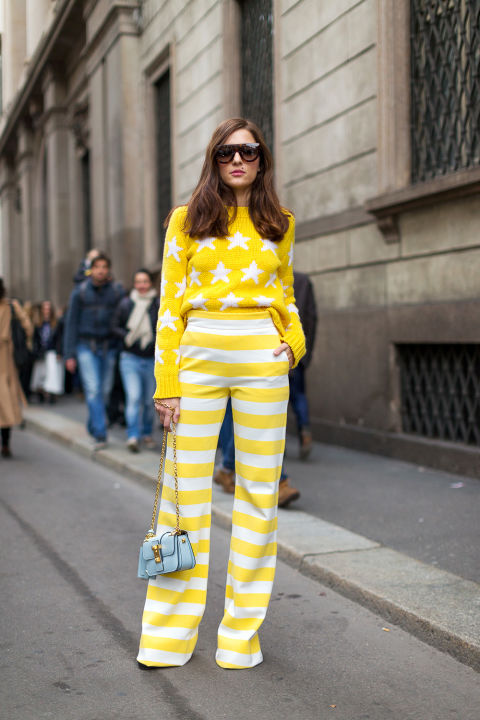 star print-yellow-striped pants-printed pants-milan fashion week-hbz