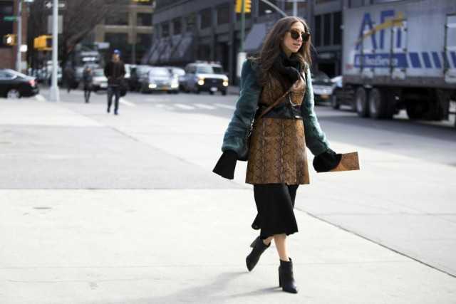 statemen coat-python-black midi skirt and booties-nyfw street style 2016