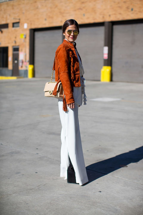 suede fringe coat-winter whites-white wide leg pants-winter outfits-what to wear when its freezing-nyfw 2016 street style-hbz