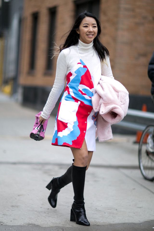 summer dress in winter-sundress-slip dress-knee sock boots-knee boots-turtleneck under dress-nyfw street style-ps