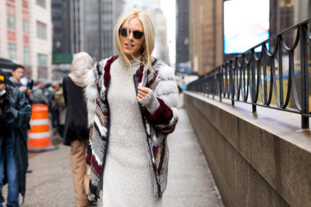 sweaeter dress-colored fur-striepd fur-nyfw street style-hbz