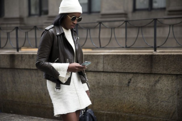 sweater dress-moto jacket-beanie-nyfw street style-rack