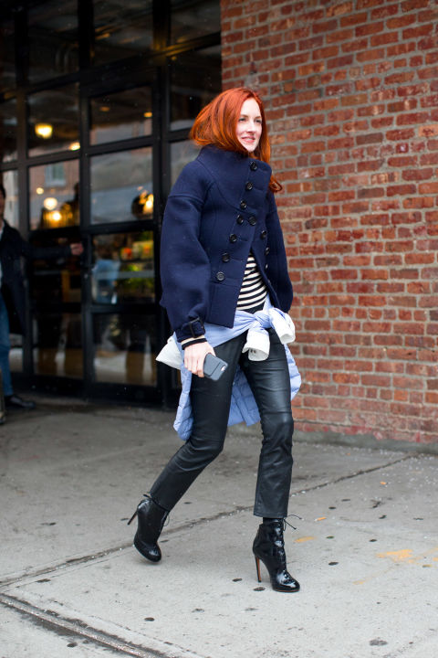 taylor tomassi hill-black leather pants-cropped pants and booties-lace up booties-striped shirt-navy coat-high neck coat-winter going out night out-shirt around waist-winter outfits-nyfw street style 2016-hbz