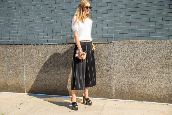 texture-fuzzy sweater crop top and culottes-pinstirpes-black and whtie-mules-spring work outfit-office to out-popsugar