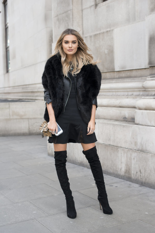 thigh high boots-over the knee boots-tulip skirt-peplum dress-lbd-fur scarf-black leather moto jacket-office to out going out -party-lfw street style-psuk-