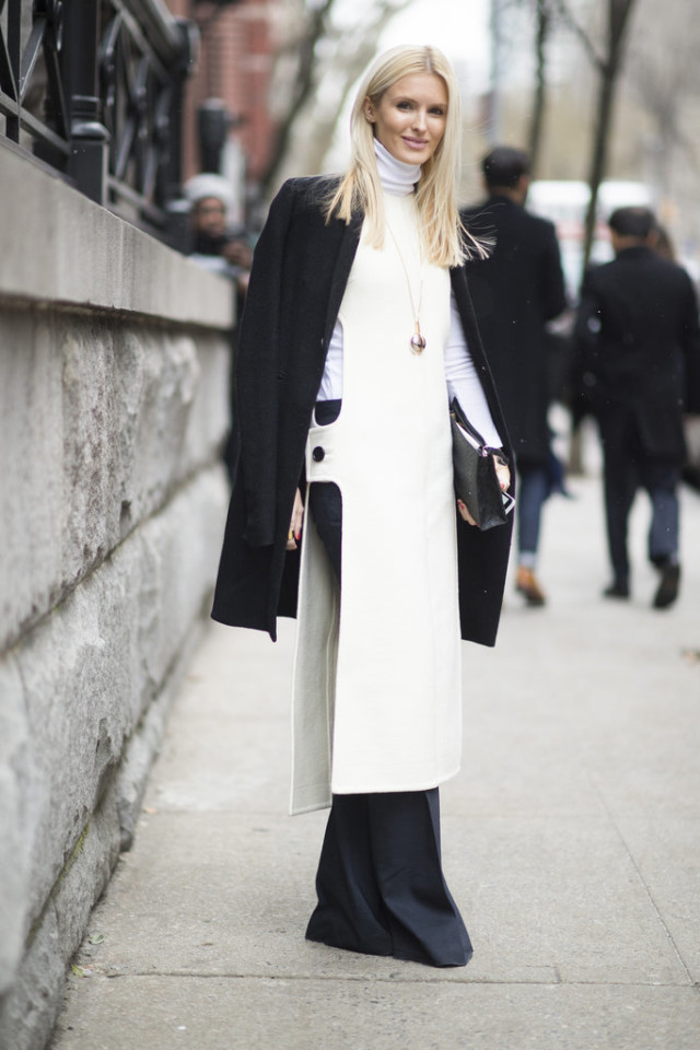 tunic-dress over pants-white turtleneck-black coat-black flares-blakc and white-kate davidson-nyfw stree style-