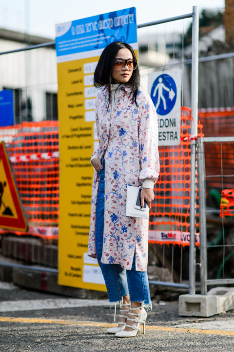 turtleneck-frayed denim-dress as coat-floral coat-spring coat-white strappy heels-winter to spring dressing-mfw street style-elle