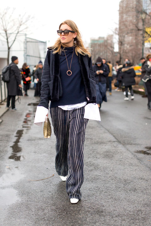 turtleneck-oversized cuffs-pendant necklace-shearling coat-striped pants-printed pants-white shoes-nyfw street style hbz
