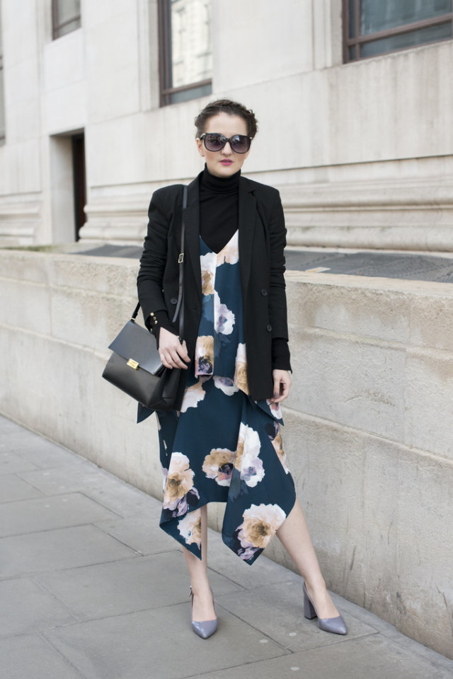 turtleneck under cocktail dress-slip dress-floral slip dress-winter to spring transitional dressing-block heels-work-office to out-lfw street style-psuk-getty