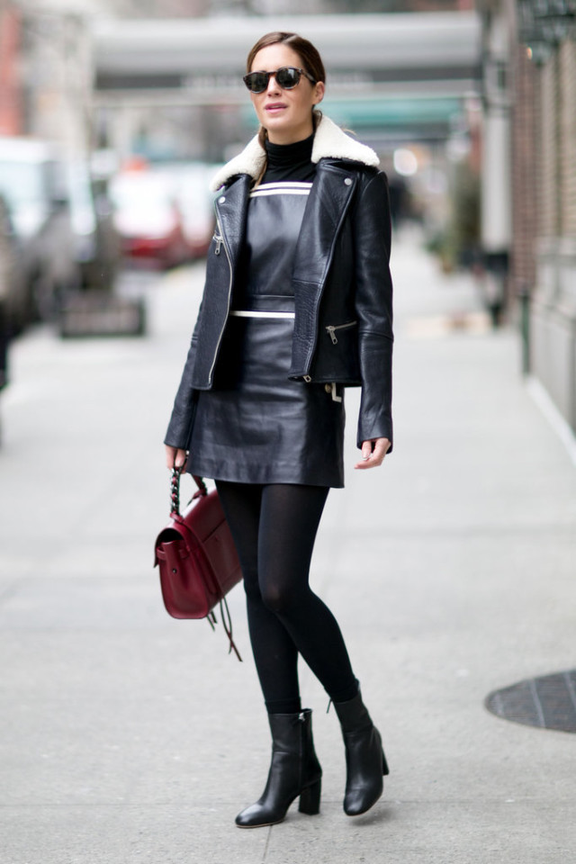 turtleneck under dress-black and white-shearling moto jacket-ankle boots-black tights-winter work outfit-going out night out-nyfw street style-black turtleneck-ps